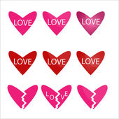 Vector set of red and pink hearts icons — Stock Vector
