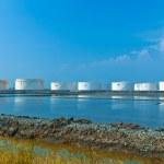 White oil tanks — Stock Photo