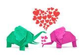 éléphant origami d'amour — Photo
