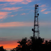 Silhouettes Telecommunication tower — Stock Photo