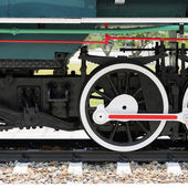 Steel wheels of a train — Stock Photo