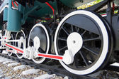Steel wheels of a train — Stok fotoğraf