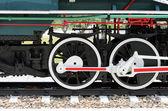 Steel wheels of a train — Stock Photo
