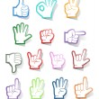 Stock Vector: Hand sign sticker collection