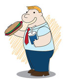 Fatman with Hotdog — Stock Vector
