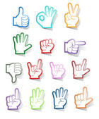 Hand sign sticker collection — Stock Vector