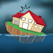 Stock Vector: Sinking House