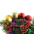 Branch of Christmas tree with decorations — Stock Photo