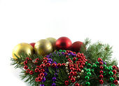 Christmas balls with fir branches — Stock Photo