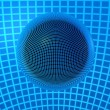 3D Chrome Ball in Blue Lines - Foto Stock
