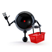 Robot with Market Basket and Trolley — Stok fotoğraf