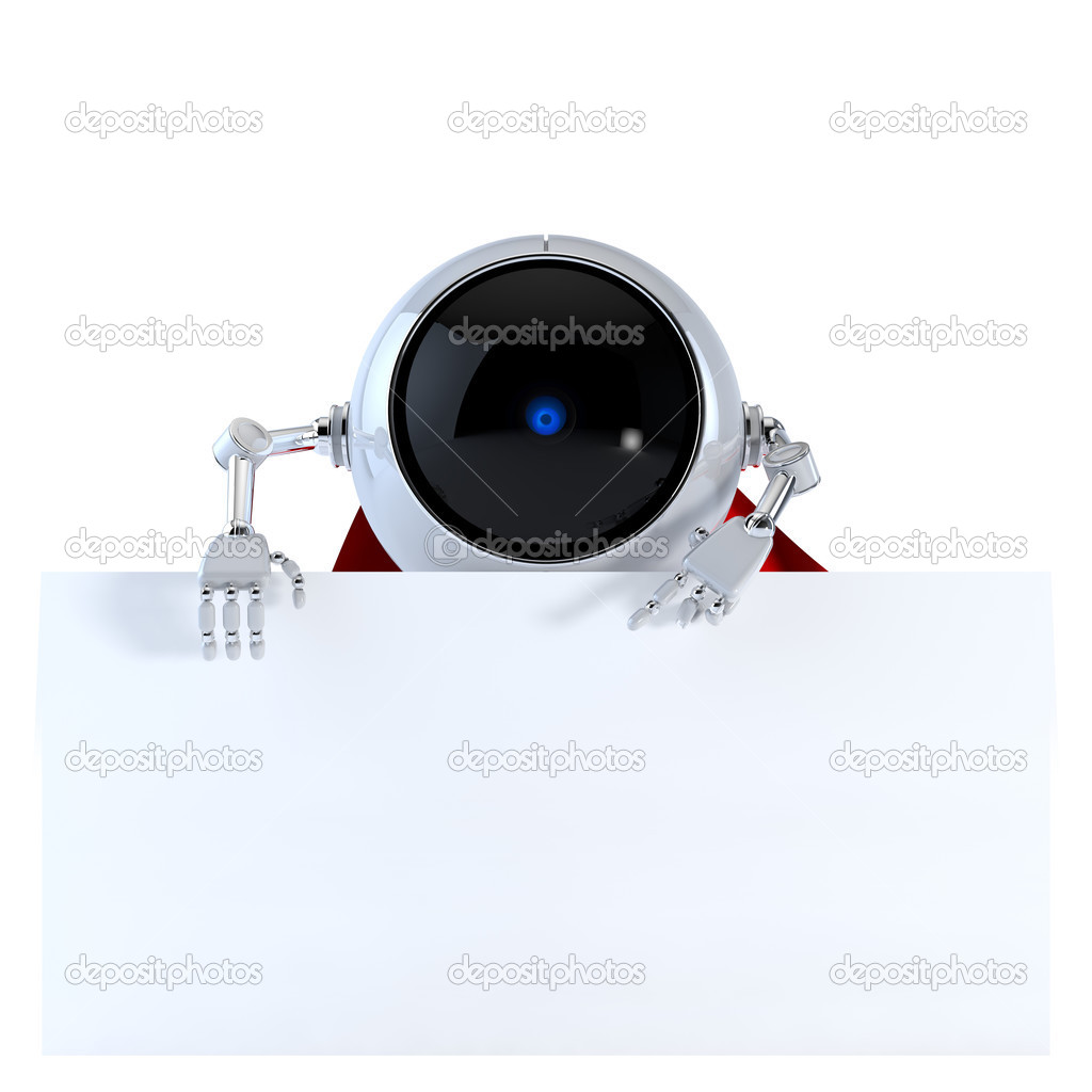 Robot with Board — Stock Photo #12593265