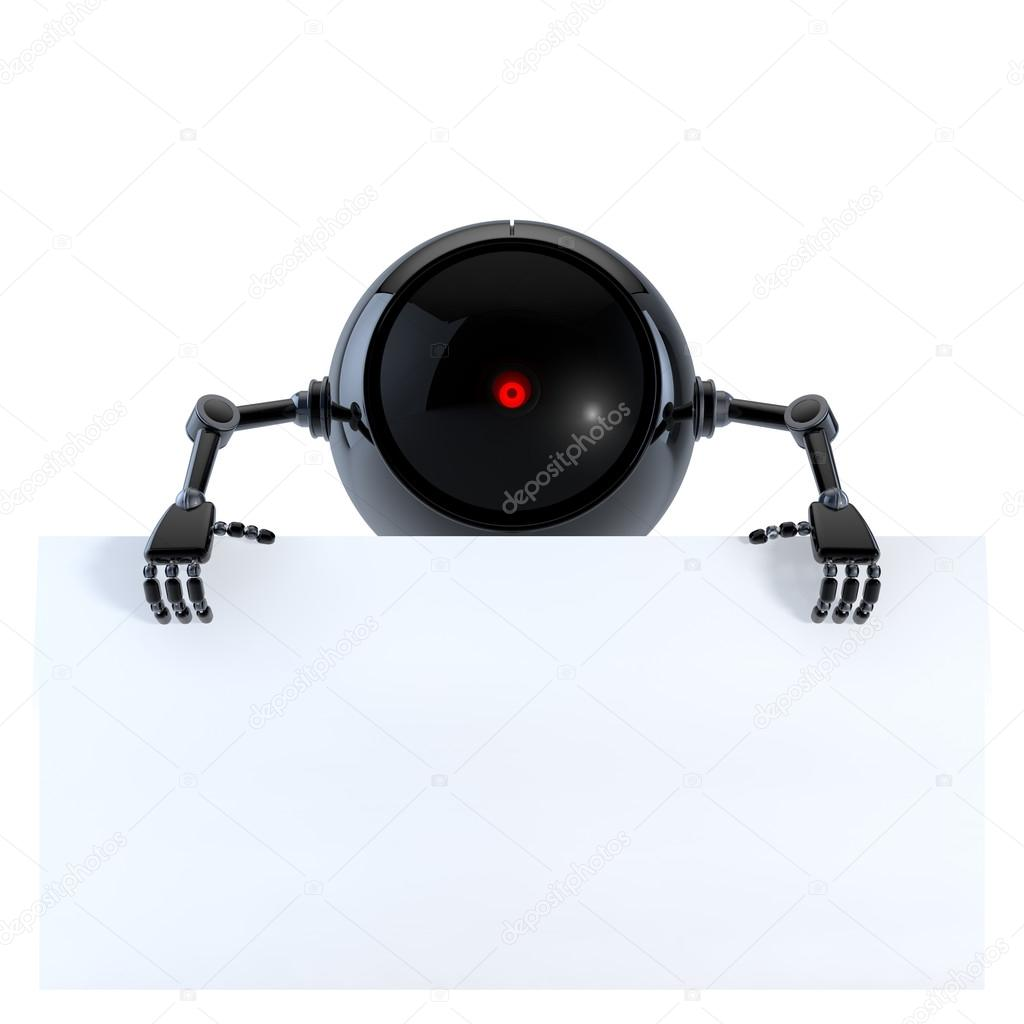 Robot with Board  Stock Photo #12593269