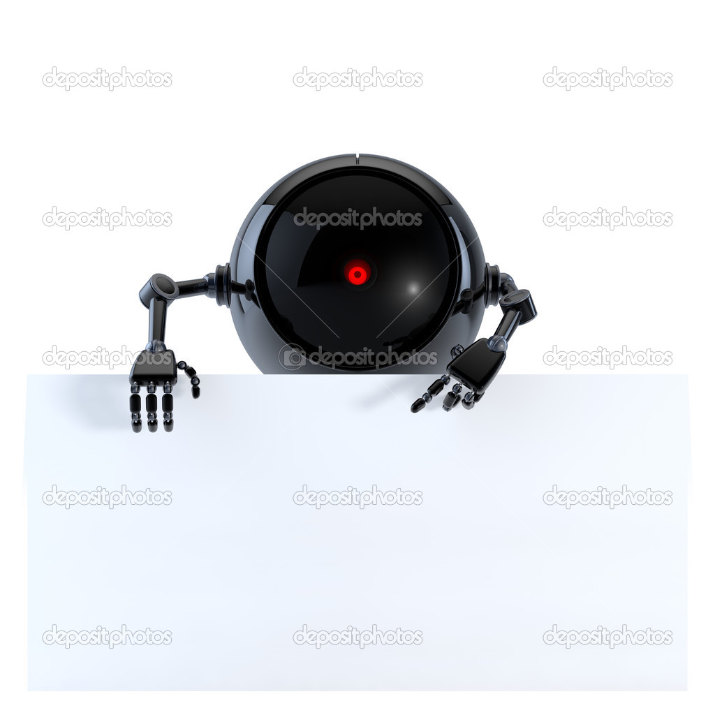 Robot with Board — Stock Photo #12593270