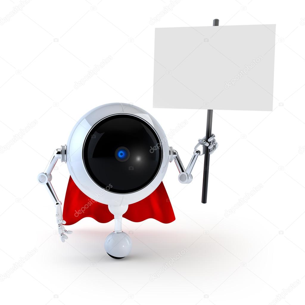 Robot with Board — Stock Photo #12593293