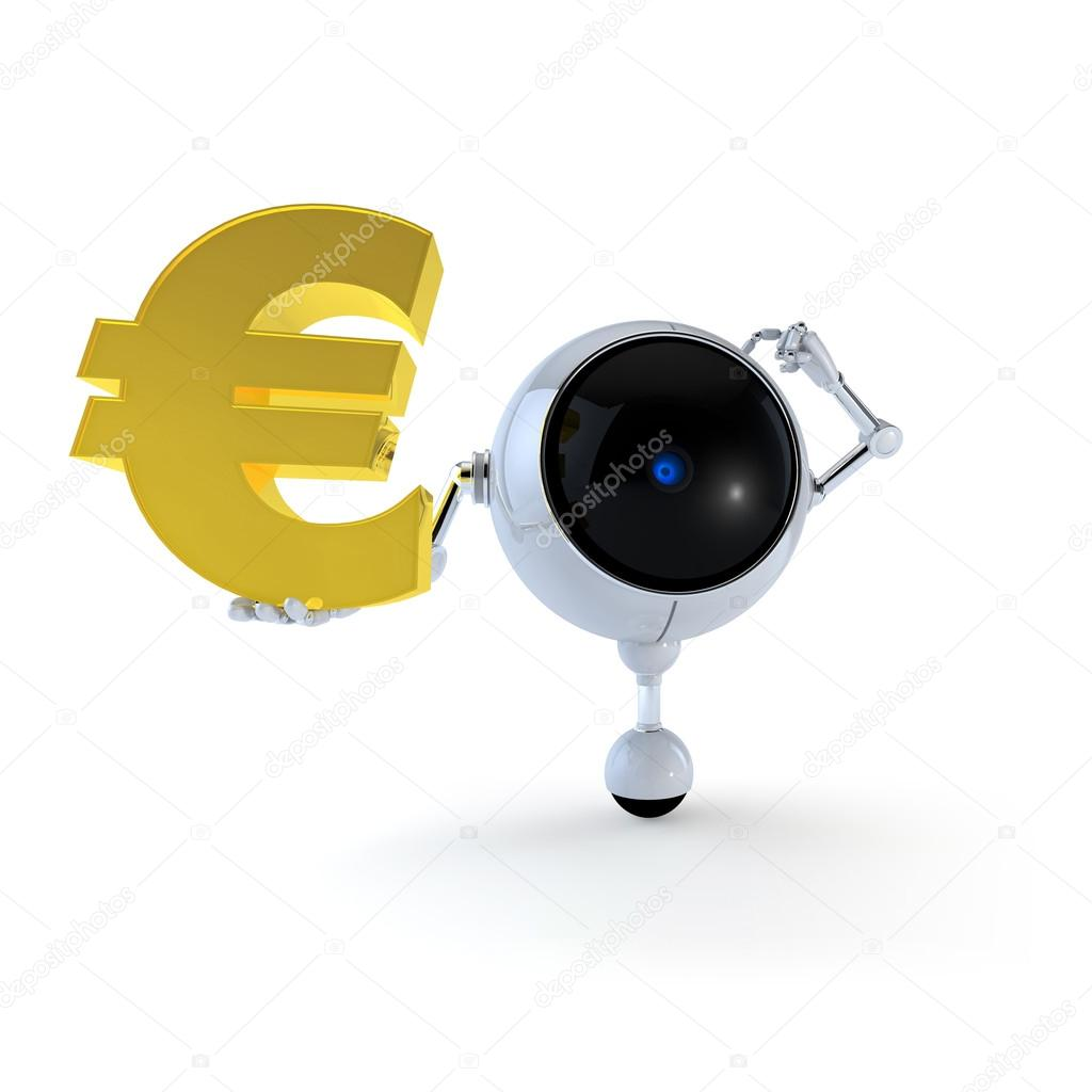 3D Illustration Robot Hold Money Sign in Hand.  Euro Sign. Isolated on Background — Stock Photo #19635821