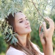 Stock Photo: Nice portrait charming young womenjoying harmony of summer day