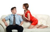 Temptation, emotional relationship, a passionate young couple — Stock Photo