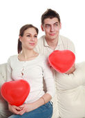 Conceptual portrait of a young couple in love — Stock Photo