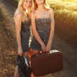 Two smiling girlfriend,with suitcase at countryside — Stock Photo