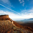 Beautiful blue morning sky above mountain autumn landscape — Stock Photo