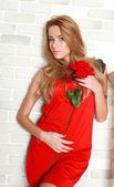 Stüdyo, kız ve çiçek kırmızı gül ile tutkulu kadın — Stok fotoğraf