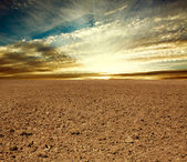 Ploughed farmland field on the background of sunset sky — Stockfoto