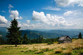 Mountain landscape, wooden house on a slope, on sky background  — Stock Photo