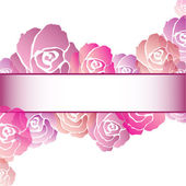 Pink Rose Frame Background — Stock Vector