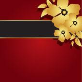Floreale oro e rosso carta — Vettoriale Stock