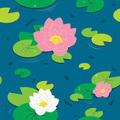 Lotus seamless pattern, Water Lily — Stock Vector