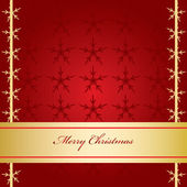 Red Christmas Card with Golden Banner — Stock Vector