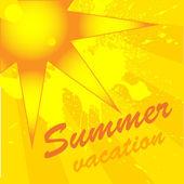Sun on yellow background — Stock Vector