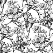Sketch flower seamless — Vector de stock