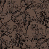 Brown sketch flower seamless — Stockvektor