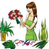 The Florist girl — Stock Vector