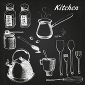 Kitchen  black set — Stockvektor