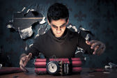 Terrorist building a time bomb — Stock Photo