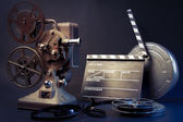 Old film projector and movie objects — Stock Photo