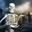 Skeleton in a graveyard welcoming you — Stock Photo #13447259