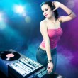 Beautiful DJ girl at the club — Stock Photo