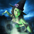 Постер, плакат: Witch with her cauldron on Halloween night