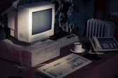 Dramatic lighting image of an old, vintage workspace — Stock Photo