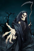 Grim reaper, angel of death at night — Stock Photo
