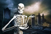 Skeleton in a graveyard welcoming you — Stock Photo