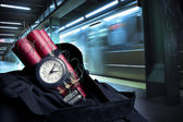 Time bomb inside a backpack in a subway station — Foto Stock