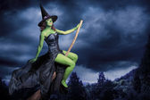 Halloween witch flying on her broomstick — Stock Photo