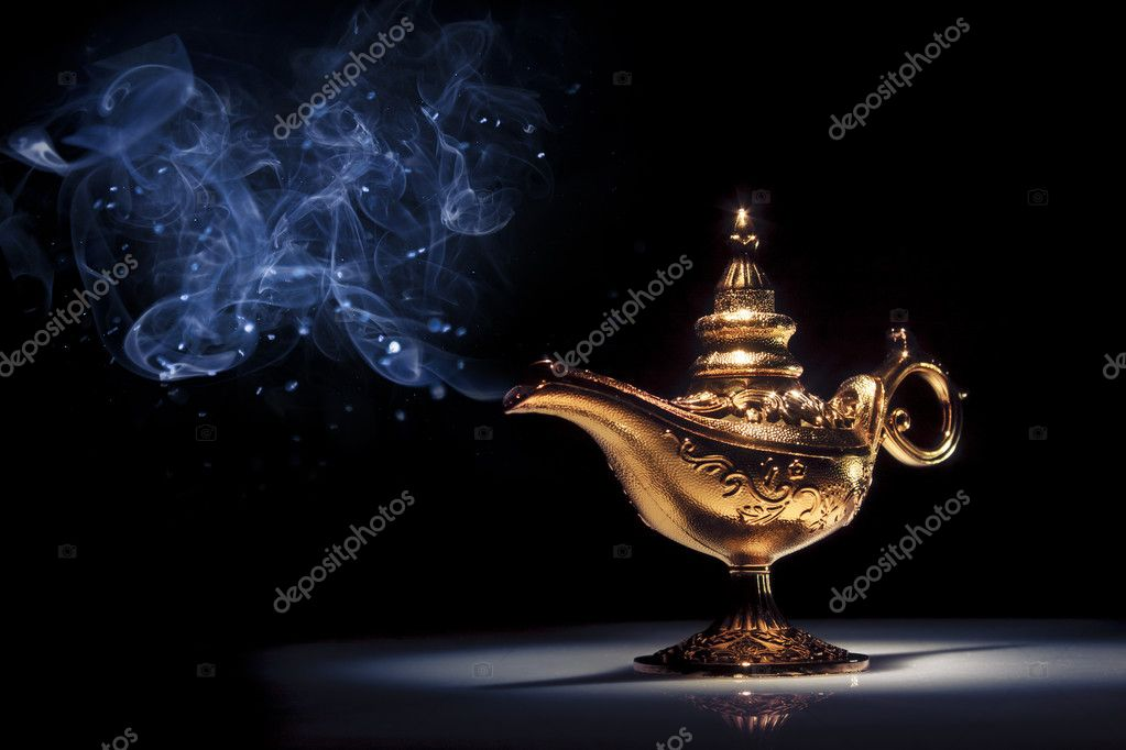 Aladdin magic lamp on black Aladdin Inside The Genies Lamp