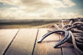 Iron horseshoe on a vintage background — Stock Photo