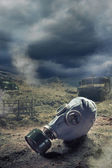 Gas Mask in aftermath of war — Stock Photo